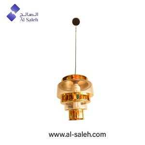 Glass pendant light with golden stripes
