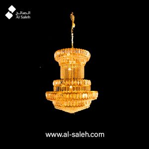 Decorated golden structure chandelier