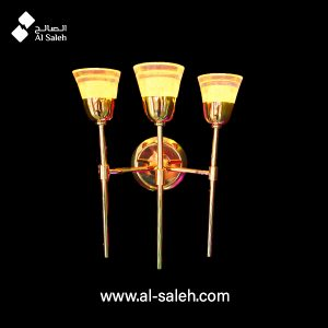 LED Polished Gold Three Arm Wall Fitting