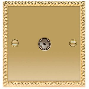 Decorative Metal Socket 1 Gang Co-Axial Socket – BG