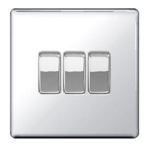 Decorative Metal Switch 3 Gang, 2 Way Switch With 10AX Plate – BG