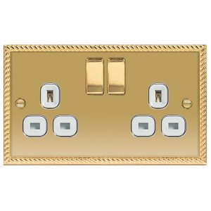 Decorative Metal Switch 13A DP Double Switched Socket – BG
