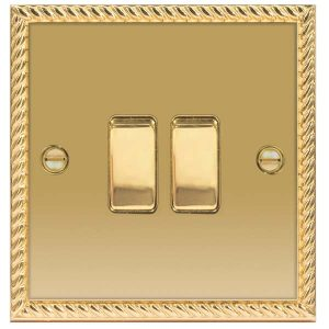 Decorative Metal Switch 2 Gang, 2 Way Switch With 10AX Plate – BG