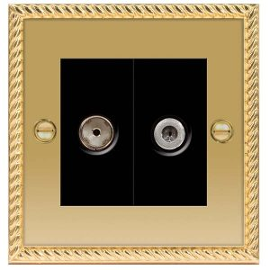 Decorative Metal Socket 2 Gang Satellite & Co-Axial Socket – BG