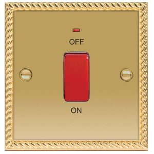 Decorative Metal Switch 45A DP Switch with Power Indicator – BG
