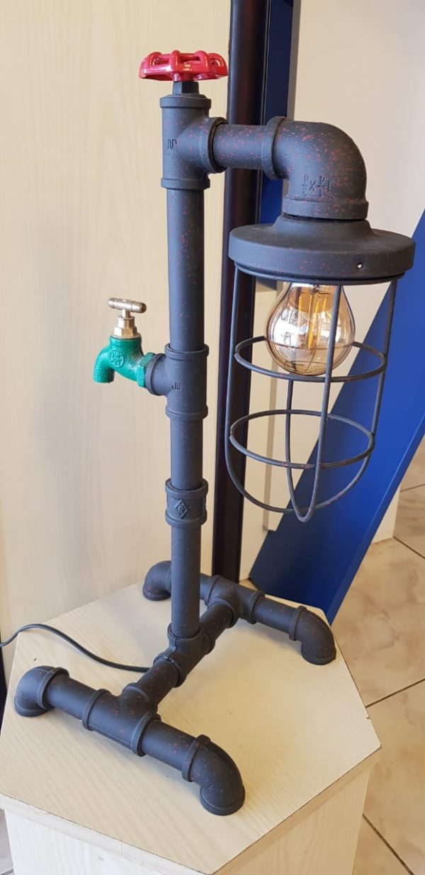 Tesla table pipe lamp with tap