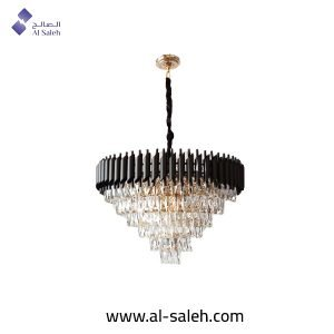 Decorated Black Structure Chandelier
